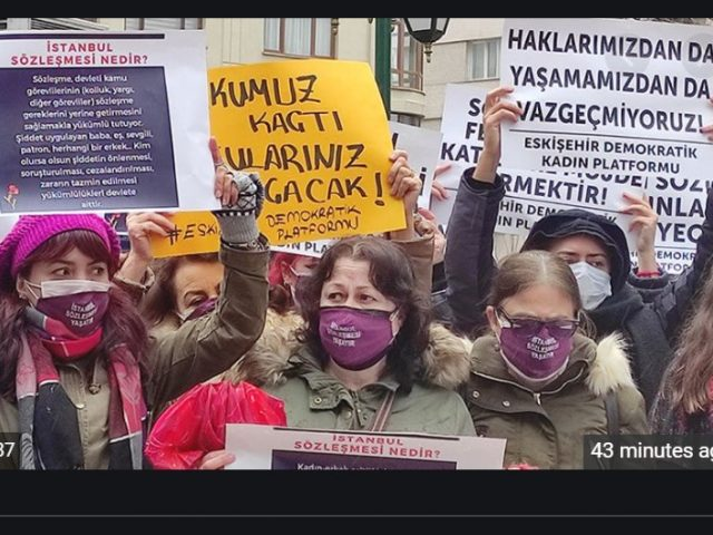 Women protest Erdogan's decision to pull out of treaty